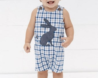 Gingham bunny Easter one piece ~ Little boy Easter Outfit ~ Monogrammed Easter