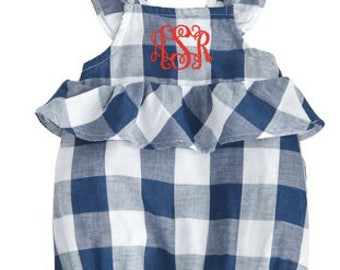 Monogrammed gingham bubble ~ Little girls fourth of july bubble ~ Cute 4th of July outfit