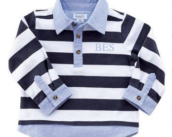 Rugby Oxford layered shirt ~ Monogrammed boys shirt ~ Boys Easter Shirt ~ Little boy rugby shirt