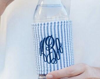 Blue seersucker drink wrap ~ monogrammed drink wrap ~ personalized drink cooler ~bridesmaid, graduate, party gift