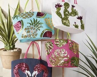 Dazzle jute totes ~ Beach Bag ~ Monogrammed beach bag ~ Sequin tote