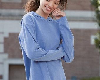 Monogrammed Comfort Colors Hooded Tshirt ~ Comfort Colors long sleeved tshirt with hood and monogram