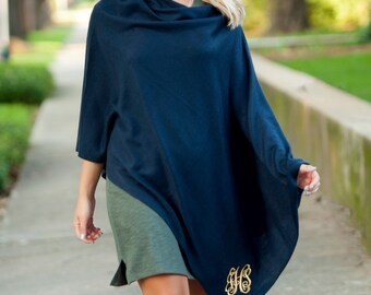 Monogrammed poncho in Navy ~ Perfect Gift ~ Personalized Scarves, Shawls and Ponchos