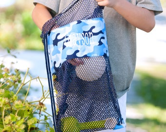 Cool Camo mesh backpack ~ Monogrammed cinch sack ~ shell tote