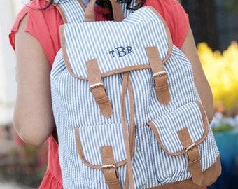 Monogrammed Seersucker Campus Backpack ~ Monogrammed girls backpack ~ Back to school backpack