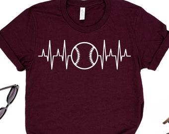 Baseball heartbeat shirt ~ Baseball mom tshirt
