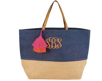 Monogrammed Color Block jute tote with tassle ~ Color Pop Jute tote ~ Tassle tote ~ personalized jute tote