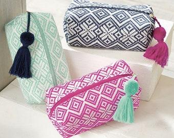Woven monogrammed cosmetic bag ~ monogrammed make up bag ~ tassle cosmetic bag