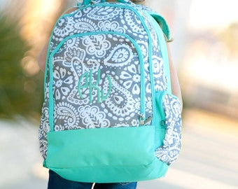 Monogrammed Parker Paisley Backpack and lunchbox~ Monogrammed girls backpack lunchbox and pencil case~ Back to school backpack
