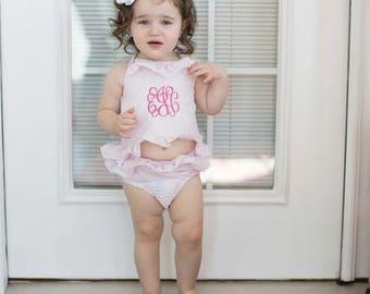 53b5c80e47 Girls seersucker ruffle two piece bathing suit ~ seersucker bathing suit ~  girls ruffle seersucker monogrammed bathing suit