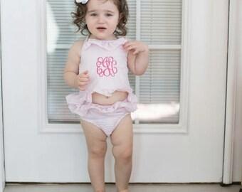 Girls seersucker ruffle two piece bathing suit ~ seersucker bathing suit ~ girls ruffle seersucker monogrammed bathing suit