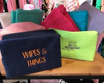 Waffle weave cosmetic bag ~  monogrammed cosmetic bag