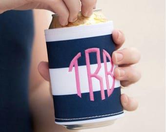 Preppy stripe drink wrap ~ monogrammed drink wrap ~ personalized drink cooler