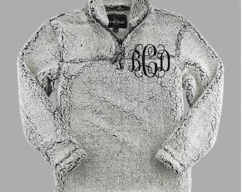 Sherpa Quarter Zip Grey Monogrammed Pullover