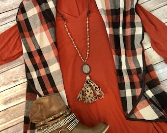 Monogrammed Vest ~ Waterfall Vest ~ Brown, Cream and Rust Plaid ~ Perfect gift