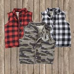 Boy and Girl Quilted vest ~ monogrammed vest ~ buffalo plaid and Camo