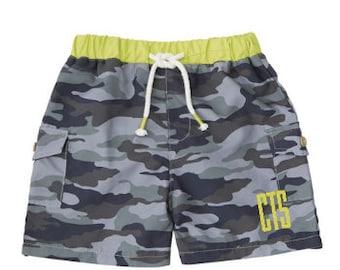 Boys camo monogrammed swim trunks~ custom boys swim trunk ~ camo swim trunks - little boys swim trunks