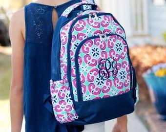 Monogrammed Mia Tile Backpack ~ Monogrammed girls backpack ~ Back to school backpack