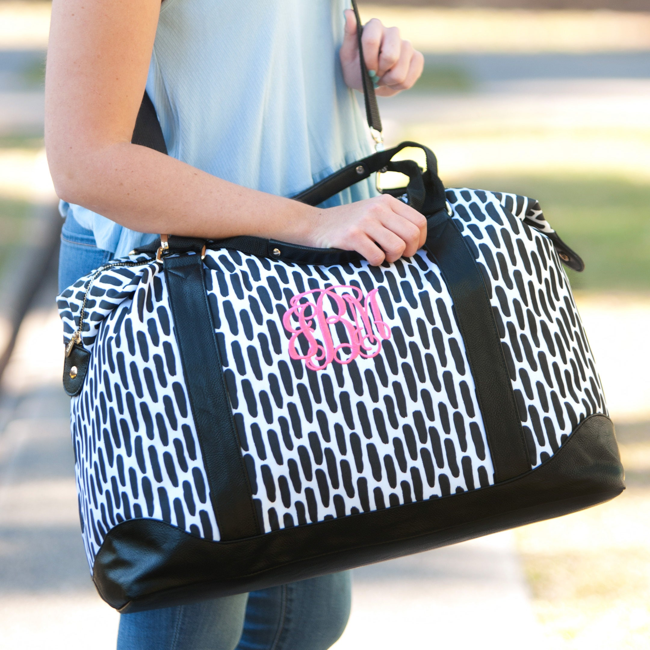 47a224c6e6 Black and White Monogrammed Weekender Bag ~ Personalized ...