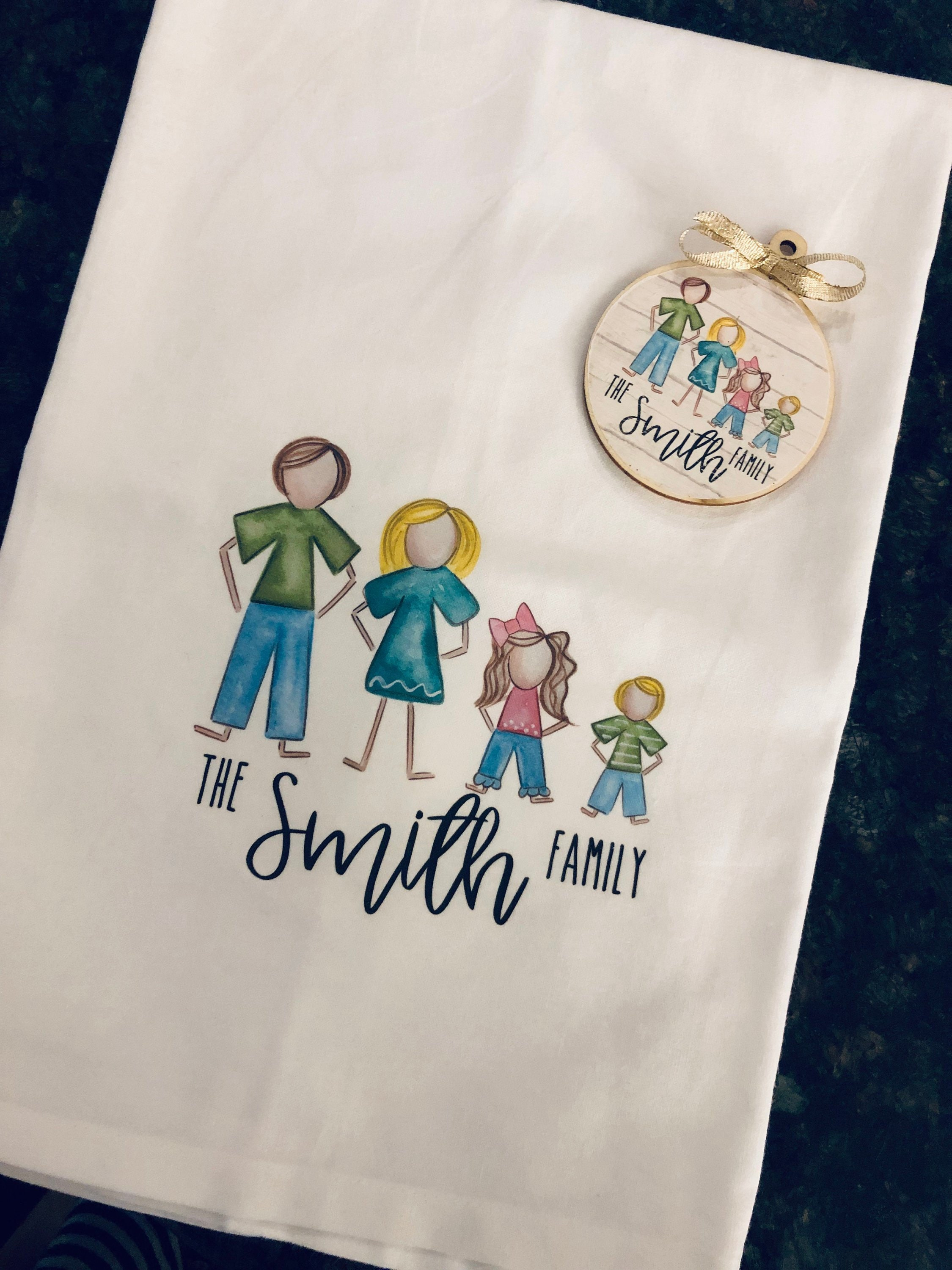 Personalized Tea Towel Kitchen Towel And Ornament Family