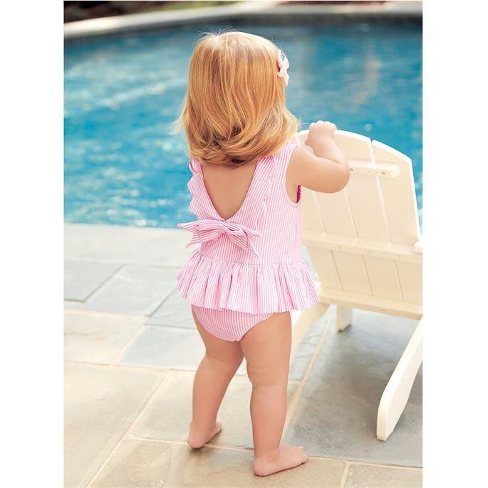 366f0bca60 Girls seersucker one piece swim suit ~ little girl seersucker bathing suit  ...