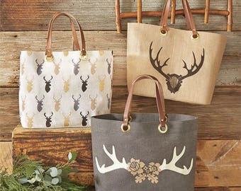 Winter Stag horn totes ~ Mud Pie totes ~ Winter and fall Tote bags Monogrammed