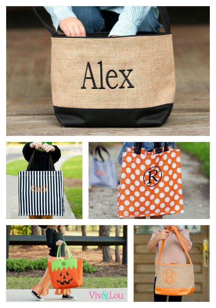halloween buckets monogrammed halloween bags treat bags
