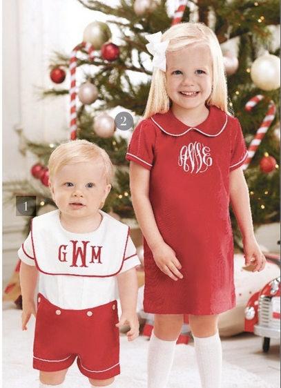 Monogrammed bib Christmas romper ~ Mud Pie Christmas outfit