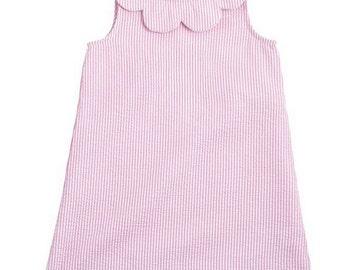 PInk Seersucker Scalloped Collar Dress ~ Custom Dress ~ Mud Pie girls ~ Monogrammed Dress ~ summer dress
