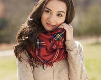 Monogrammed blanket scarf ~ Tartan plaid scarf