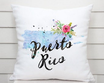 US State Puerto Rico Map Outline Floral Design - Throw Pillow Case, Pillow Cover, Home Decor - TPC1219