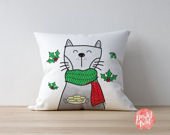 Cat Holding Cookies Christmas Design - Throw Pillow Cover Living Room, Throw Pillow Cover Decorative, Throw Pillow Case Christmas - TPC1260