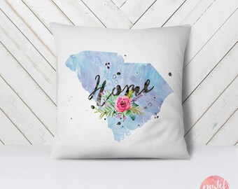 US State South Carolina Map Outline Floral Design - Throw Pillow Cover Living Room, Pillow Cover Decorative, Pillow Case Aesthetic - TPC1222