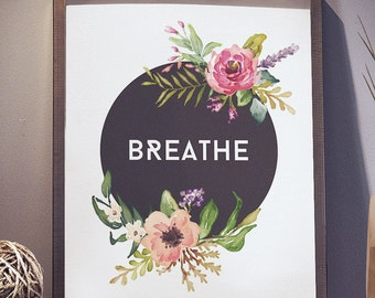 Breathe Black Background Pastel Flowers 8x10 inch - Poster Print Wall Decor, Aesthetic Floral, Cool - P1023
