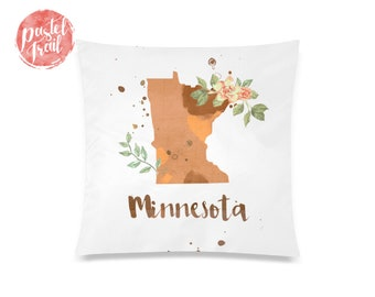 US State Minnesota Map Outline Floral Design - Throw Pillow Case Living Room, Pillow Cover Decorative, Pillow Case Floral - TPC1242