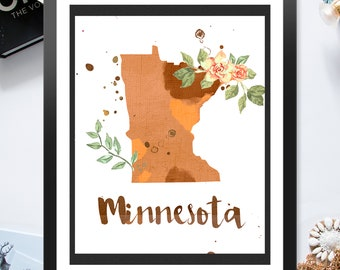 US State Minnesota Shape Outline Floral 8x10 16x20 inch - Poster Print Wall Decor, Aesthetic Floral, Artsy Map Outline - P1242