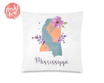 US State Mississippi Map Outline Floral Design - Throw Pillow Case Living Room, Pillow Cover Decorative, Pillow Case Floral - TPC1243