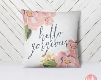 Hello Gorgeous Pastel Flowers - Throw Pillow Cover Living Room, Pillow Cover Decorative, Pillow Case Floral - TPC1029