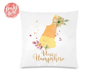 US State New Hampshire Map Outline Floral Design - Throw Pillow Case Living Room, Pillow Cover Decorative, Pillow Case Floral - TPC1248