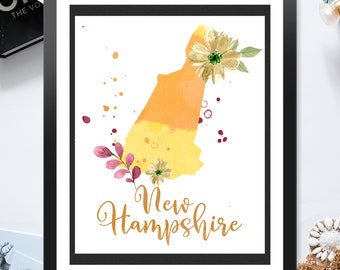 US State New Hampshire Shape Outline Floral 8x10 16x20 inch - Poster Print Wall Decor, Aesthetic Floral, Cool Art - P1248
