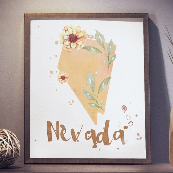 Us State Nevada Shape Outline Floral 8x10 16x20 Inch Poster Etsy