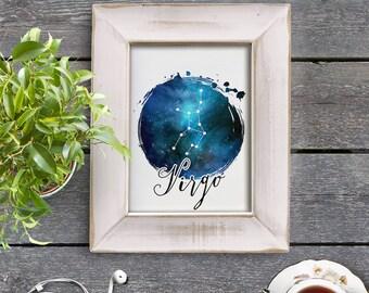 Virgo Zodiac Sign Horoscope Constellation Galaxy 8x10 inch - Poster Print Wall Decor, Aesthetic Blue, Cool Art - P1176
