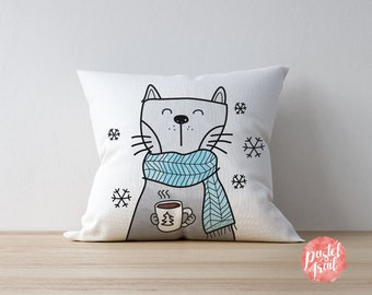 Cat Holding Hot Choco Winter Design - Throw Pillow Cover Living Room, Throw Pillow Cover Decorative, Throw Pillow Cover Winter  - TPC1259