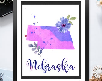 US State Nebraska Shape Outline Floral 8x10 16x20 inch - Poster Print Wall Decor, Aesthetic Floral, Artsy Map Outline - P1246
