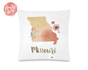 US State Missouri Map Outline Floral Design - Throw Pillow Case Living Room, Pillow Cover Decorative, Pillow Case Floral - TPC1244