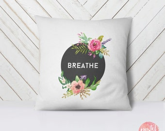 Breathe Black Background Pastel Flowers - Throw Pillow Cover Living Room, Pillow Cover Decorative, Throw Pillow Case Floral - TPC1023