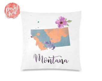 US State Montana Map Outline Floral Design - Throw Pillow Case Living Room, Pillow Cover Decorative, Pillow Case Floral - TPC1245