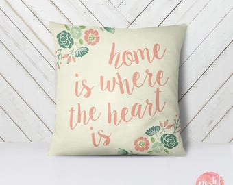Home Is Where The Heart Is - Throw Pillow Cover Living Room, Throw Pillow Cover Decorative, Throw Pillow Case Aesthetic - TPC1009