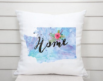 US State Washington Outline Floral Design - Throw Pillow Cover Living Room, Pillow Cover Decorative, Throw Pillow Case Comfy - TPC 1255