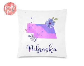 US State Nebraska Map Outline Floral Design - Throw Pillow Case Living Room, Pillow Cover Decorative, Pillow Case Floral - TPC1246